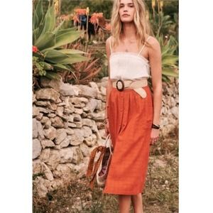Sezane Tiphaine Midi Skirt Belted NWT Size 34
